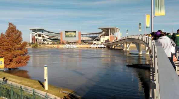 Walking Across River to Baylor and Texas Game